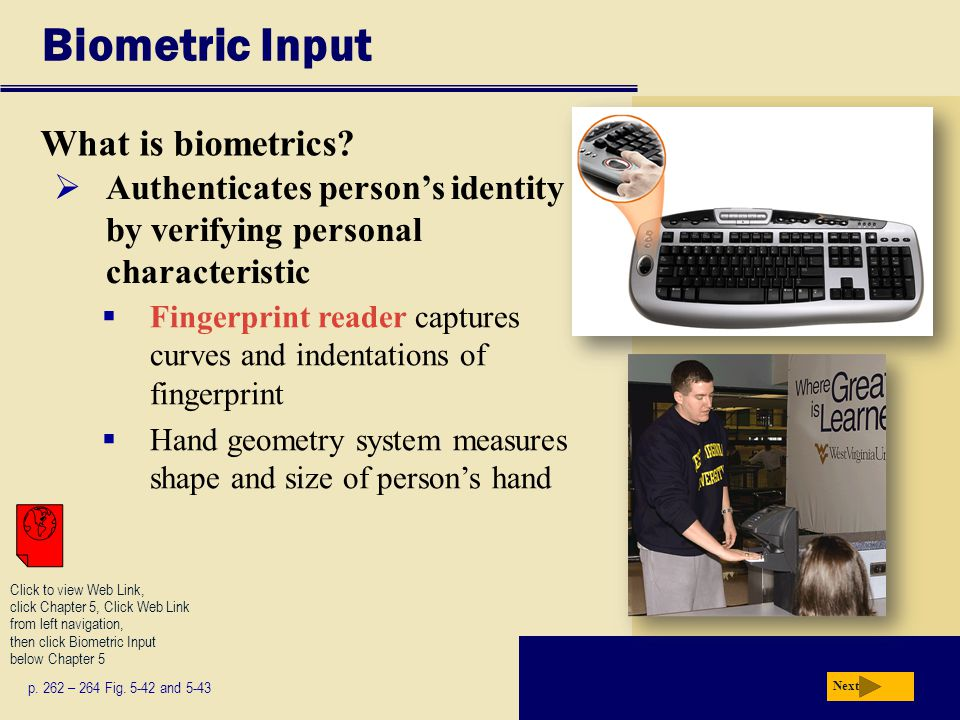 Biometric Input What is biometrics? p. 262 – 264 Fig. 5-42 and 5-43 Next  Authenticates person's identity by verifying personal characteristic  Fing