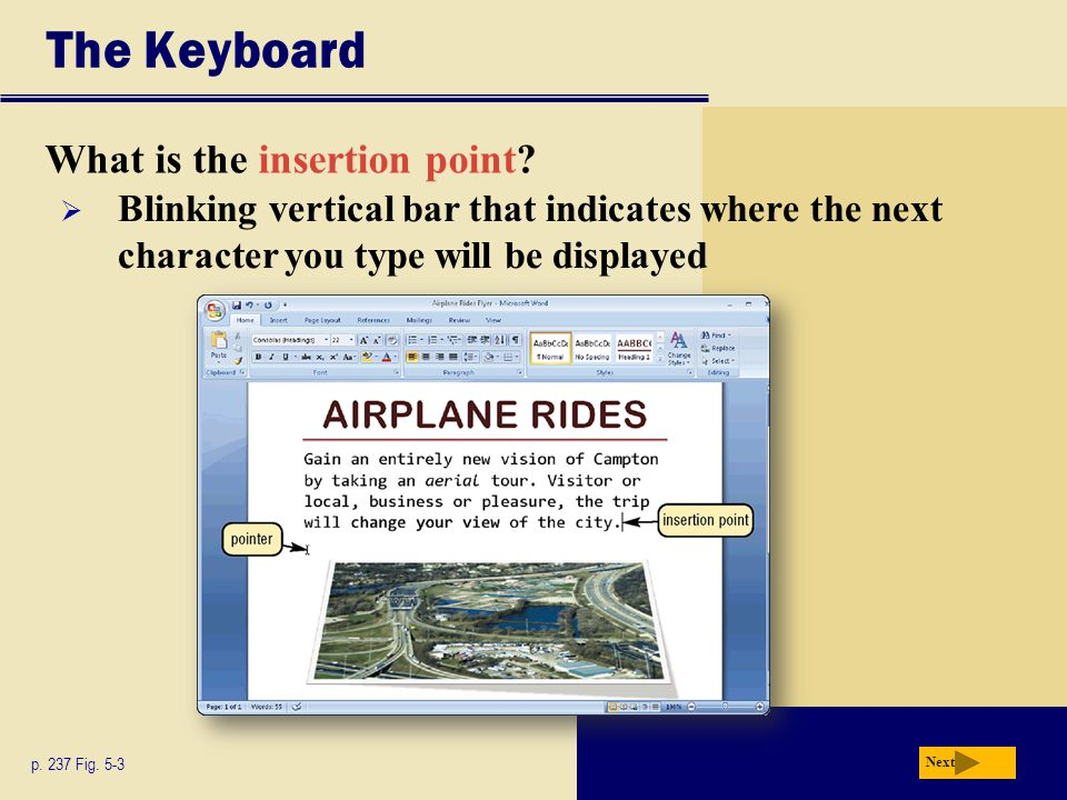The Keyboard What is the insertion point? p. 237 Fig. 5-3 Next  Blinking vertical bar that indicates where the next character you type will be displa