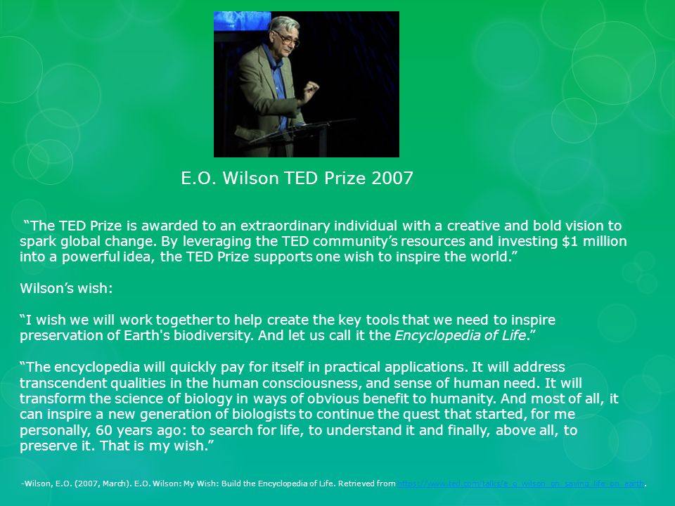"""""""The TED Prize is awarded to an extraordinary individual with a creative and bold vision to spark global change. By leveraging the TED community's res"""