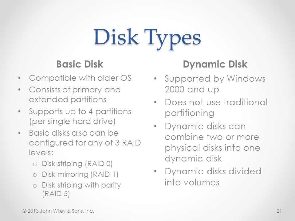 Disk Types Basic DiskDynamic Disk © 2013 John Wiley & Sons, Inc.21 Compatible with older OS Consists of primary and extended partitions Supports up to