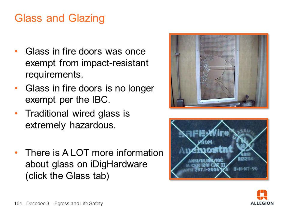 103 | Decoded 3 – Egress and Life Safety NFPA 70 National Electric Code Rooms housing large equipment - 600 Volts, nominal or less, 1200 amperes or more (2014 NEC: 800 amps) Rooms housing conductors and equipment used on circuits of over 600 Volts, nominal.