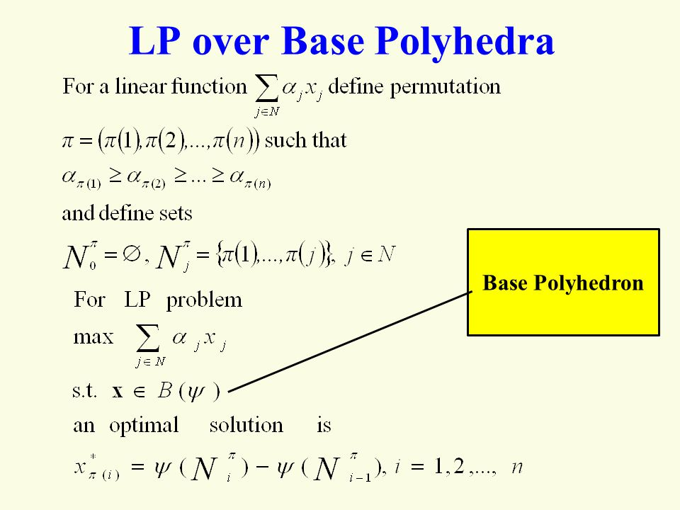 LP over Base Polyhedra Base Polyhedron