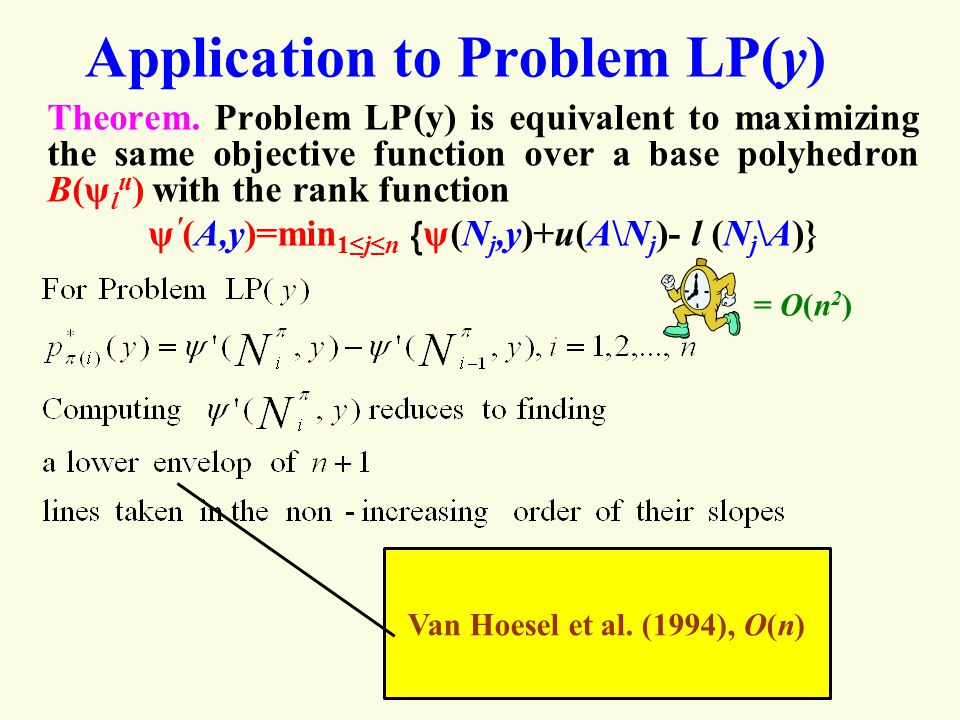 Application to Problem LP(y) Theorem.