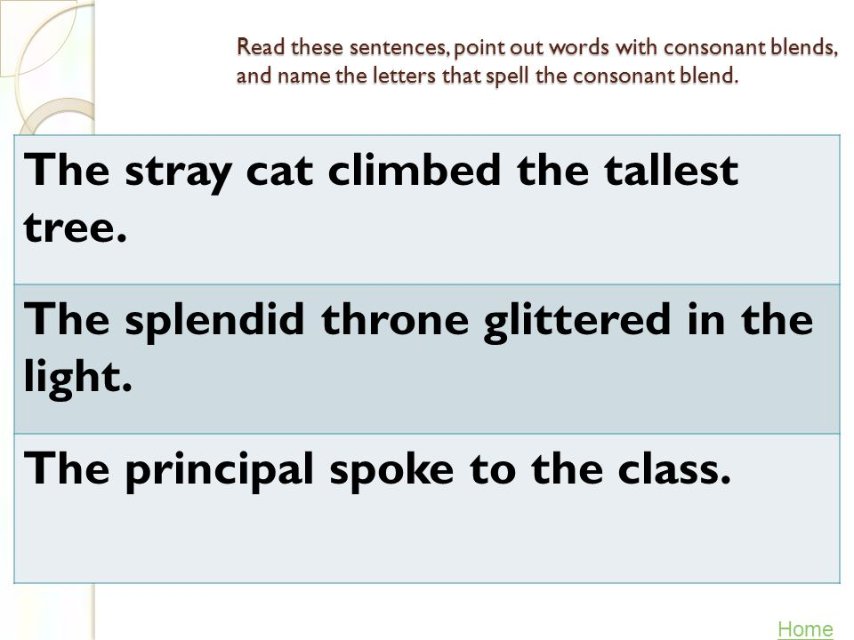 Read these words out loud and then underline the two- or three-letter consonant blends.