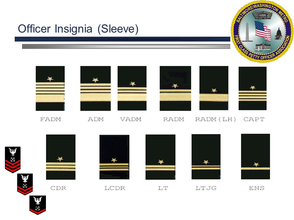 Officer Insignia (Sleeve) Are Gold Stripes, black on green coats, in widths of either 2 , 1/2 , or 1/4 indicating rank.