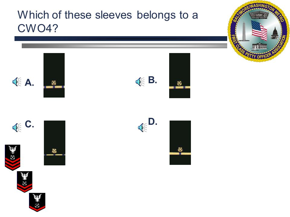 Which of these sleeves belongs to a CWO4? A. C. B. D.