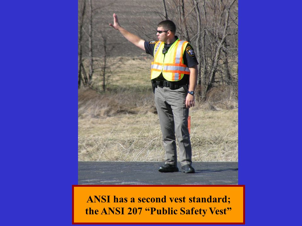 "ANSI has a second vest standard; the ANSI 207 ""Public Safety Vest"""