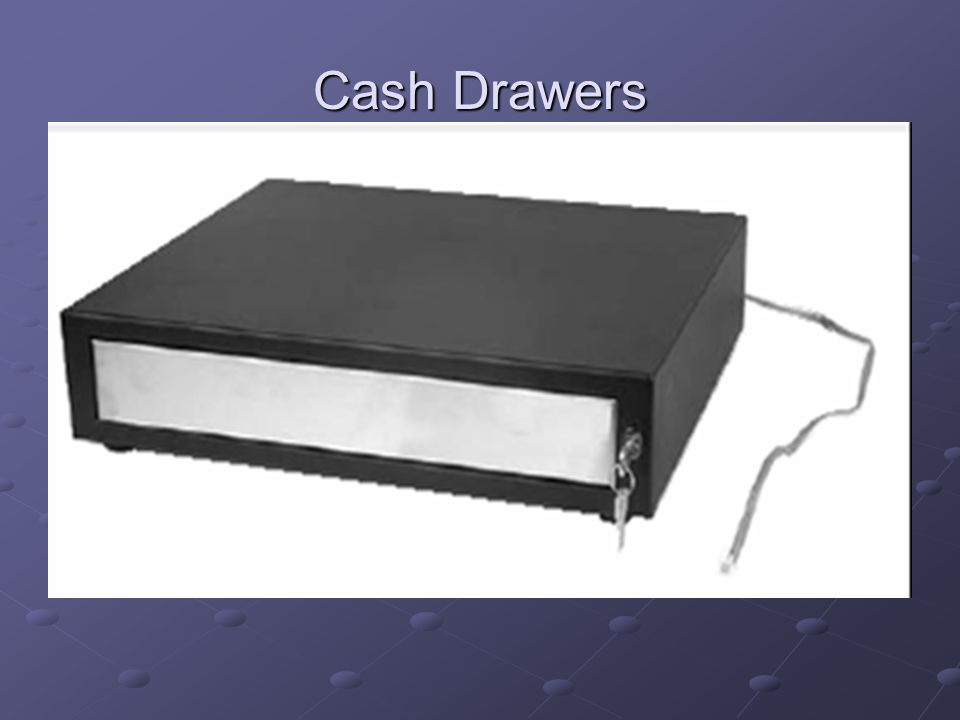 Cash Drawers MMF cash drawers Printer driven (recommended) Connects to a 40 column receipt (telephone type of cable) Connects to a 40 column receipt (telephone type of cable) Serial (only use if not using 40 column receipt printers)