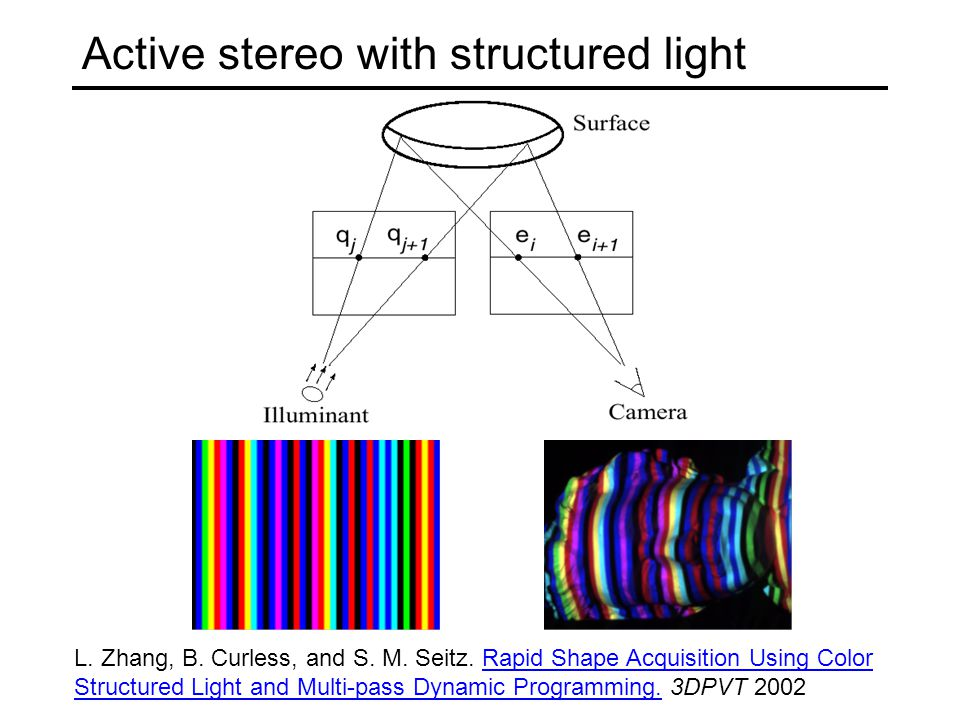 Active stereo with structured light L. Zhang, B. Curless, and S. M. Seitz. Rapid Shape Acquisition Using Color Structured Light and Multi-pass Dynamic