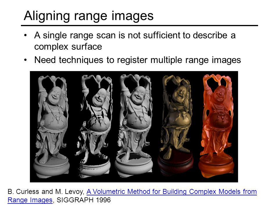 Aligning range images A single range scan is not sufficient to describe a complex surface Need techniques to register multiple range images B. Curless
