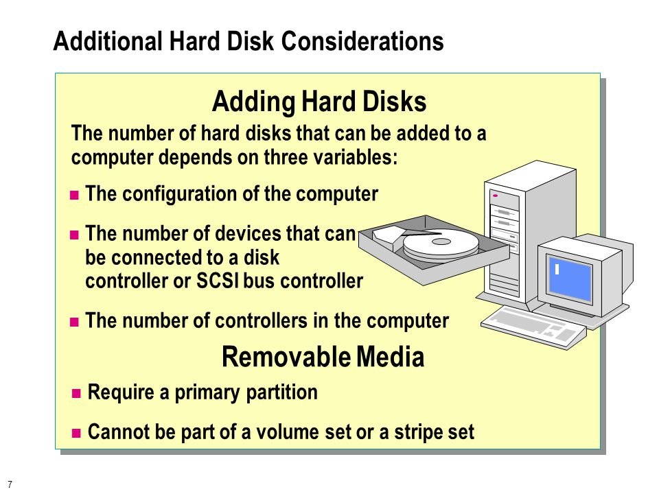 7 Additional Hard Disk Considerations The configuration of the computer The number of devices that can be connected to a disk controller or SCSI bus c