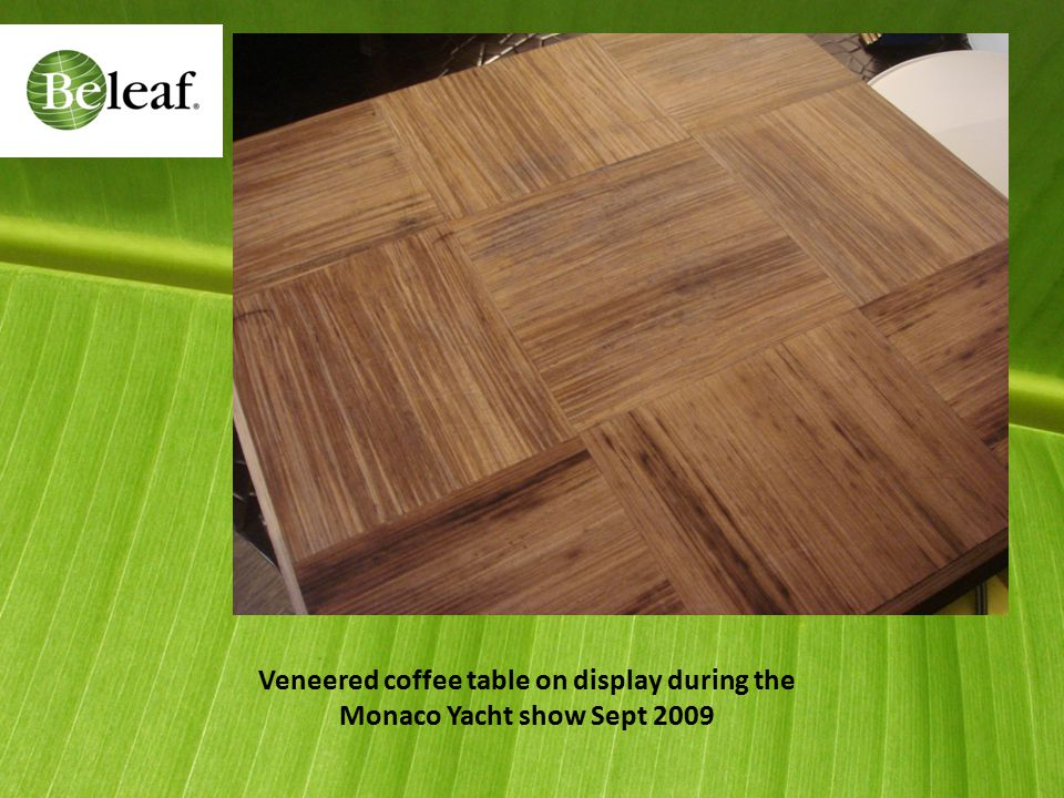 Veneered coffee table on display during the Monaco Yacht show Sept 2009