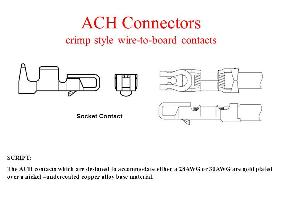 ACH Connectors SCRIPT: The ACH crimp style wire-to-board connectors offer design flexibility.