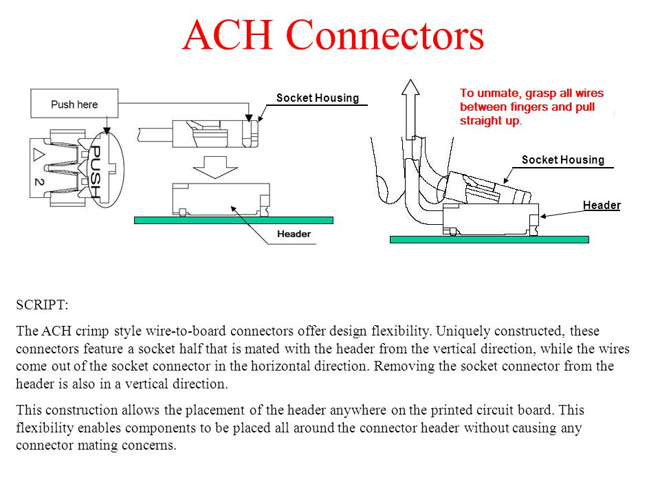 ACH Connectors SCRIPT: The ACH crimp style wire-to-board connectors offer design flexibility. Uniquely constructed, these connectors feature a socket