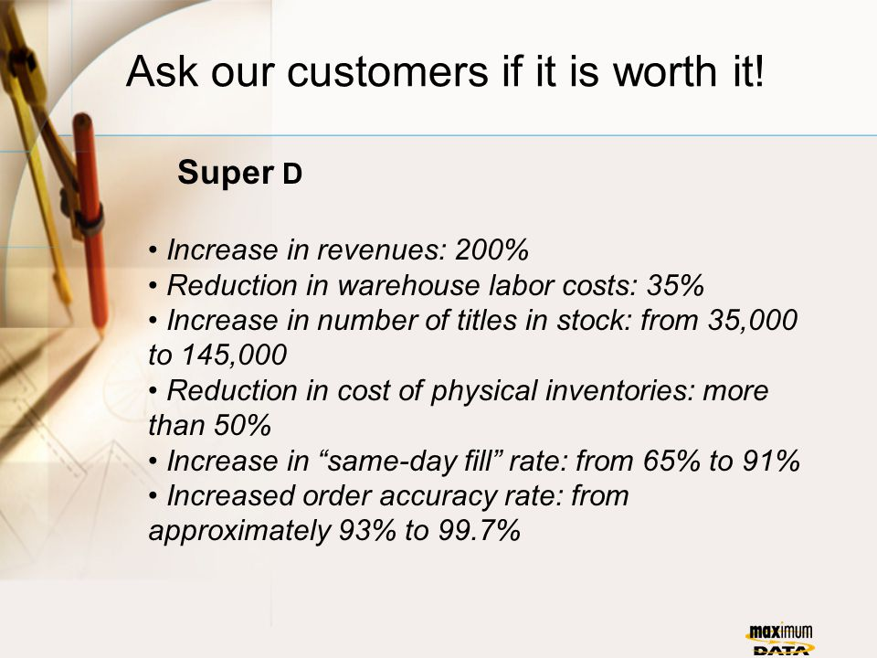 Ask our customers if it is worth it! Super D Increase in revenues: 200% Reduction in warehouse labor costs: 35% Increase in number of titles in stock: