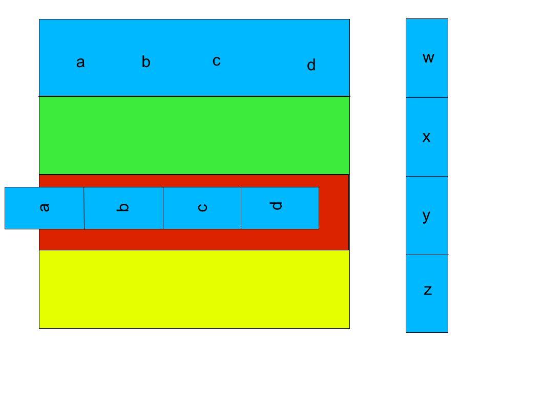 a w x y z b c d abc d