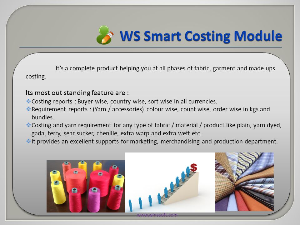 Additional Features  Textile Dictionary  Yarn, Fabric count Testing  Textile Conversions.