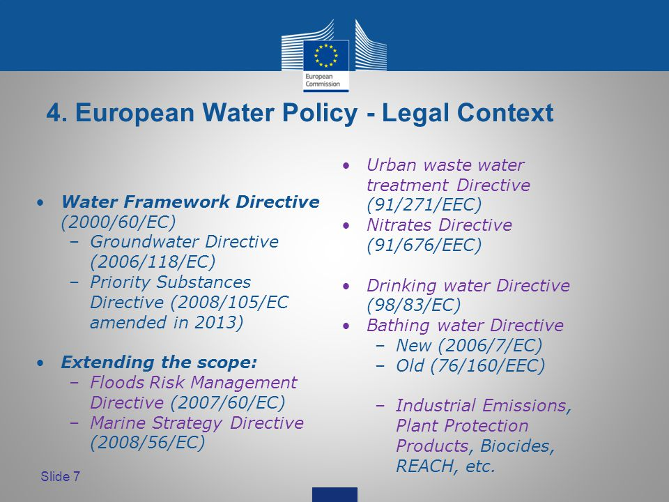 Slide 7 4. European Water Policy - Legal Context Water Framework Directive (2000/60/EC) –Groundwater Directive (2006/118/EC) –Priority Substances Dire