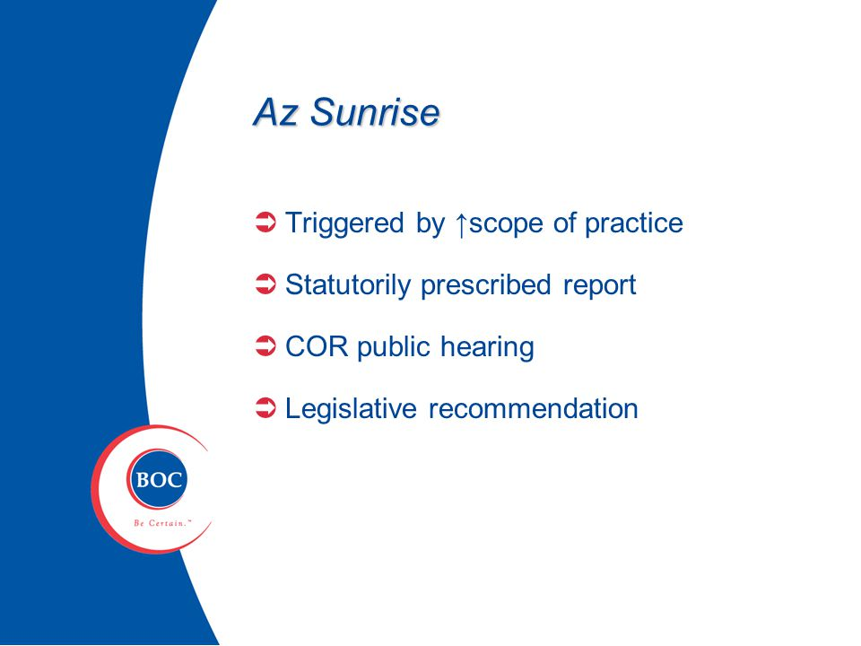 Sunset Report - ABAT  Objective & purpose  Effectiveness  Public interest  Quality of rules  Transparency  Investigative ability  Prosecutions  Address deficiencies  Necessary changes  Potential for harm  Use of private contractors