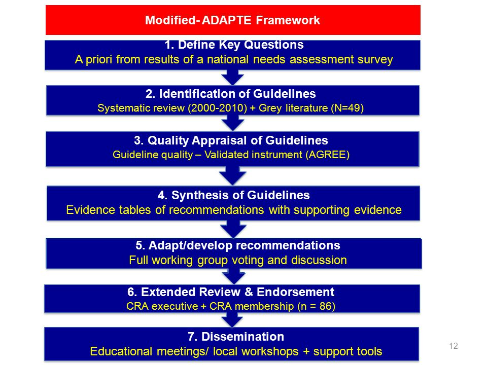 12 Modified- ADAPTE Framework 2. Identification of Guidelines Systematic review (2000-2010) + Grey literature (N=49) 3. Quality Appraisal of Guideline