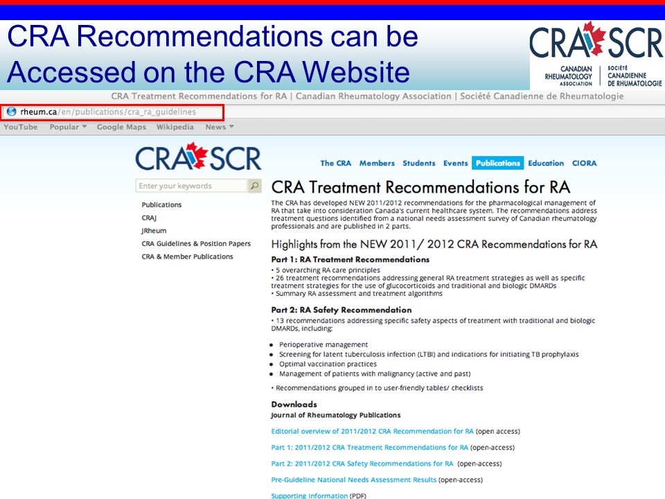 24 CRA Recommendations can be Accessed on the CRA Website COMING SOON