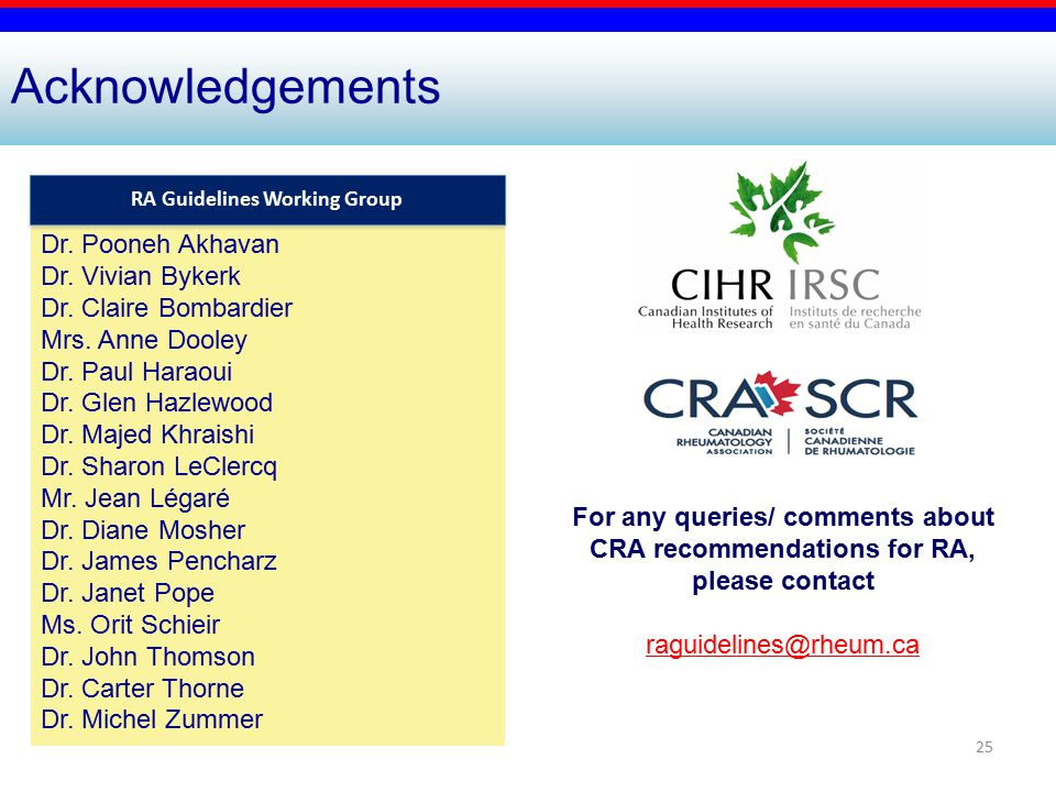 25 For any queries/ comments about CRA recommendations for RA, please contact raguidelines@rheum.ca Acknowledgements Dr.
