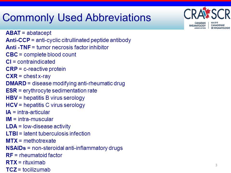 3 Commonly Used Abbreviations ABAT = abatacept Anti-CCP = anti-cyclic citrullinated peptide antibody Anti -TNF = tumor necrosis factor inhibitor CBC =
