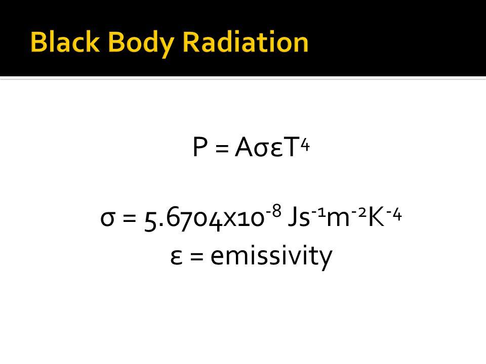 σ = 5.6704x10 -8 Js -1 m -2 K -4 P = AσεT 4