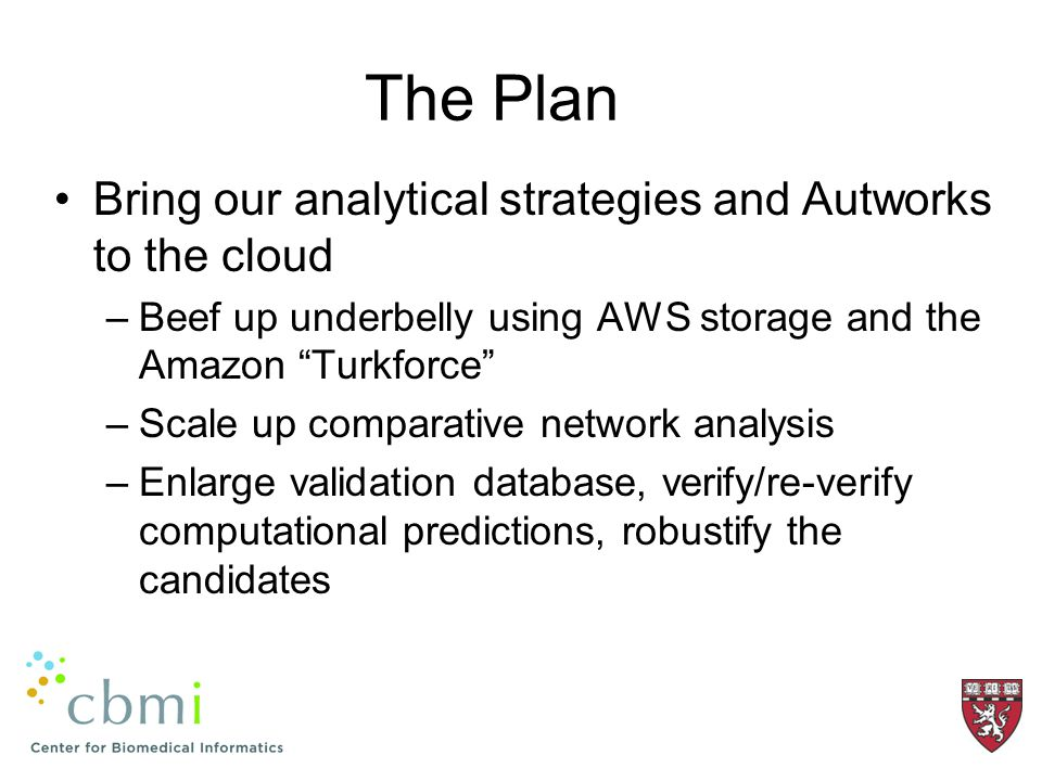 The Plan Bring our analytical strategies and Autworks to the cloud –Beef up underbelly using AWS storage and the Amazon Turkforce –Scale up comparative network analysis –Enlarge validation database, verify/re-verify computational predictions, robustify the candidates