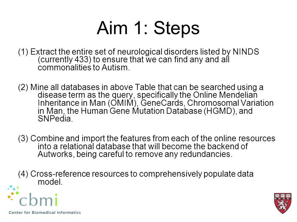 Aim 1: Steps (1) Extract the entire set of neurological disorders listed by NINDS (currently 433) to ensure that we can find any and all commonalities to Autism.