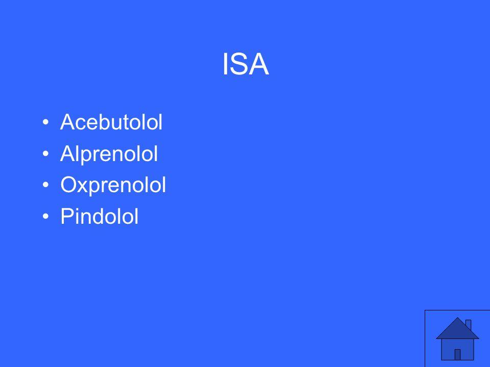 ISA Acebutolol Alprenolol Oxprenolol Pindolol