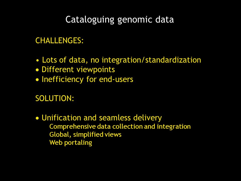 Cataloguing genomic data CHALLENGES: Lots of data, no integration/standardization  Different viewpoints  Inefficiency for end-users SOLUTION:  Unif