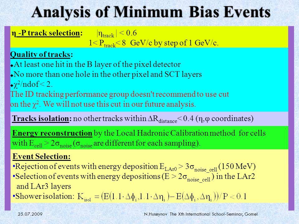 25.07.2009N.Huseynov The Xth International School-Seminar, Gomel Calorimeters in ATLAS EM LAr |η| < 3 : Pb/LAr 24-26 X 0 3 longitudinal sections; 1.2 λ; Δη×Δφ=0.025×0.025 Central Hadronic |η|<1.7: Fe(82%)/scintillator (18%) 3 longitudinal sections; 7.2 λ; Δη×Δφ=0.1×0.1 End Cap Hadronic 1.7 <|η|<3.2: Cu/LAr – 4 longitudinal sections; Δη×Δφ<0.2×0.2 Forward calorimeter 3<|η|<4.9 : EM Cu/LAr – HAD W/Lar; 3 longitudinal sections (ATL-TILECAL-PUB-2008-009) Linearity within ±1% (10-350 GeV) LAr + TileCal resolution (obtained at 2004 Combined TestBeam) Tile Calorimeter EM barrel and EndCap Hadronic EndCap Forward Calorimeter