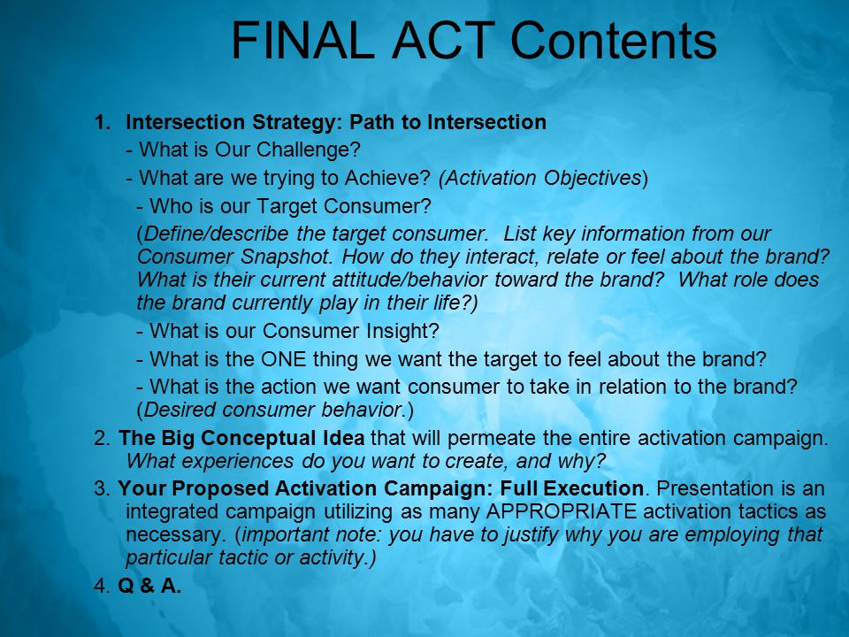 FINAL ACT Contents 1.Intersection Strategy: Path to Intersection - What is Our Challenge.