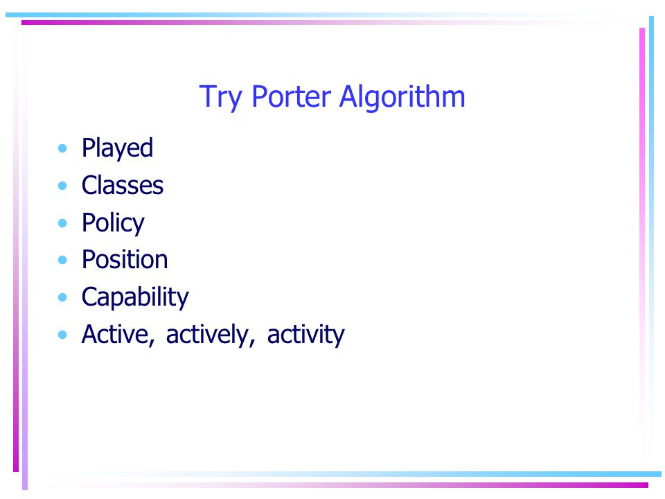 Try Porter Algorithm Played Classes Policy Position Capability Active, actively, activity