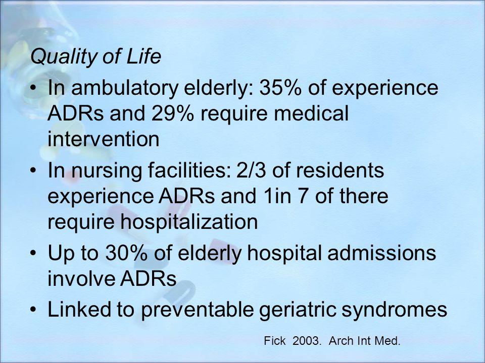 Economic In 2000: ADRs caused 10,600 deaths Annual cost of $85 billion $76.6 billion in ambulatory care $20 billion in hospitals $4 billion in SNF Fick 2003.