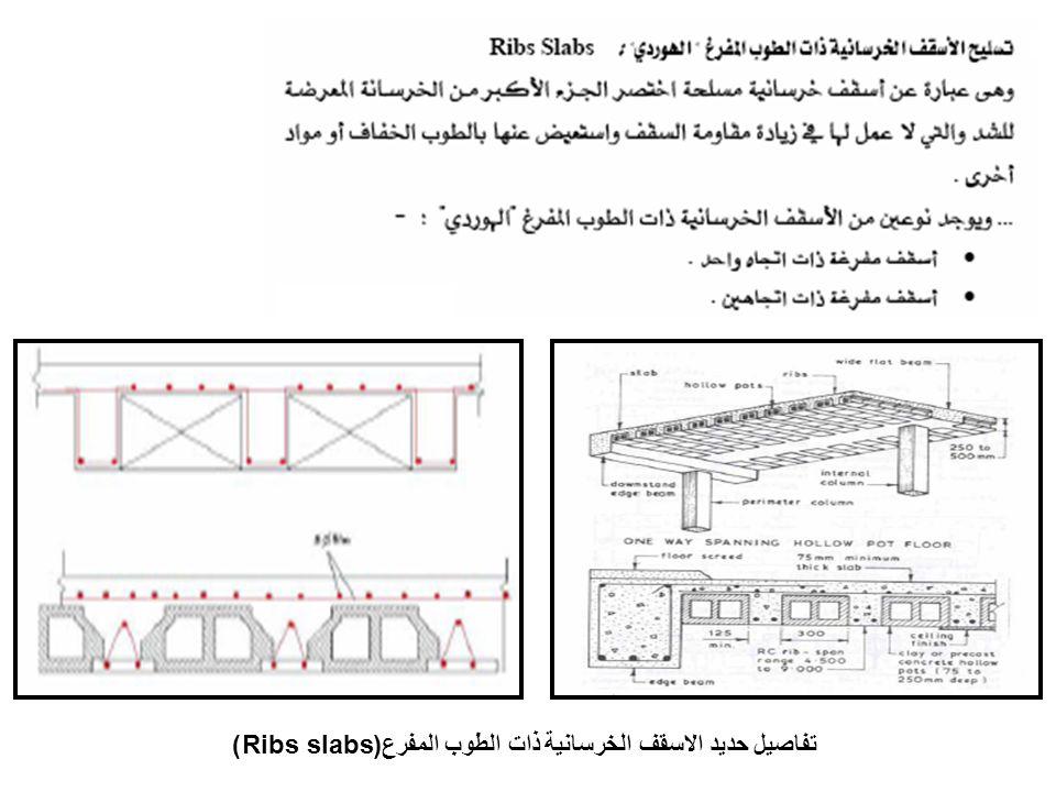 تفاصيل حديد الاسقف الخرسانية ذات الطوب المفرع(Ribs slabs)