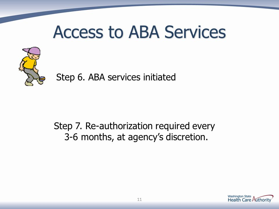 Access to ABA Services Step 6. ABA services initiated 11 Step 7. Re-authorization required every 3-6 months, at agency's discretion.