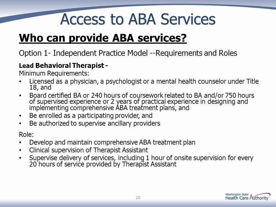 Access to ABA Services Who can provide ABA services? Option 1- Independent Practice Model --Requirements and Roles Lead Behavioral Therapist - Minimum