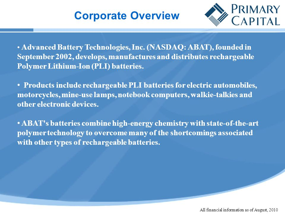 Corporate Overview Advanced Battery Technologies, Inc.
