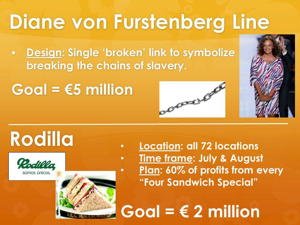 Diane von Furstenberg Line  Design: Single 'broken' link to symbolize breaking the chains of slavery.