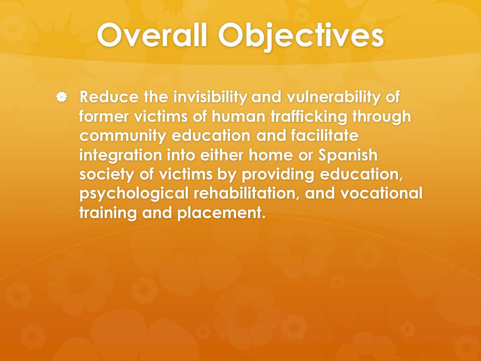 Overall Objectives  Reduce the invisibility and vulnerability of former victims of human trafficking through community education and facilitate integration into either home or Spanish society of victims by providing education, psychological rehabilitation, and vocational training and placement.