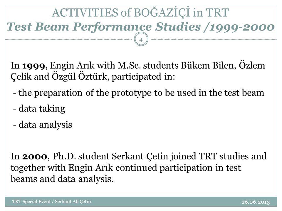 ACTIVITIES of BOĞAZİÇİ in TRT Test Beam Performance Studies / 2000-2001 26.06.2013 TRT Special Event / Serkant Ali Çetin 5 Boğaziçi contributed to the maintenance of the software used online and offline.