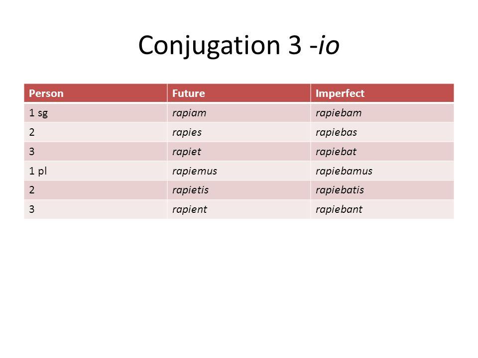 Conjugation 3 -io PersonFutureImperfect 1 sgrapiamrapiebam 2rapiesrapiebas 3rapietrapiebat 1 plrapiemusrapiebamus 2rapietisrapiebatis 3rapientrapiebant