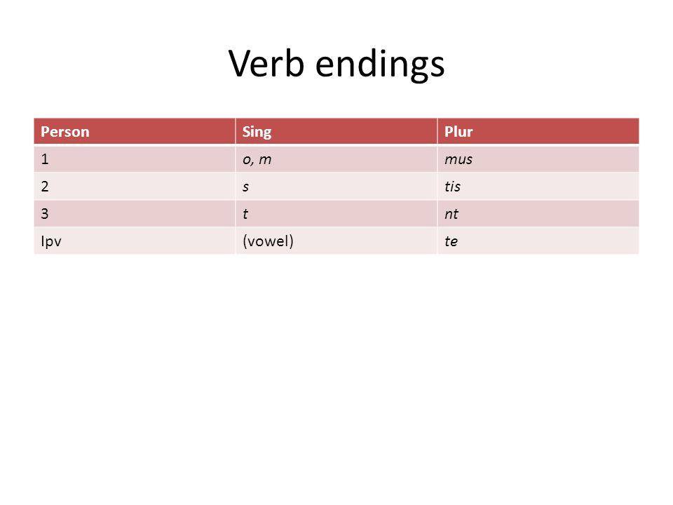 Verb endings PersonSingPlur 1o, mmus 2stis 3tnt Ipv(vowel)te