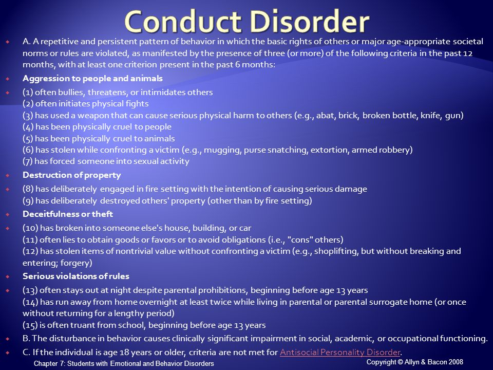 Copyright © Allyn & Bacon 2008 Chapter 7: Students with Emotional and Behavior Disorders  A.