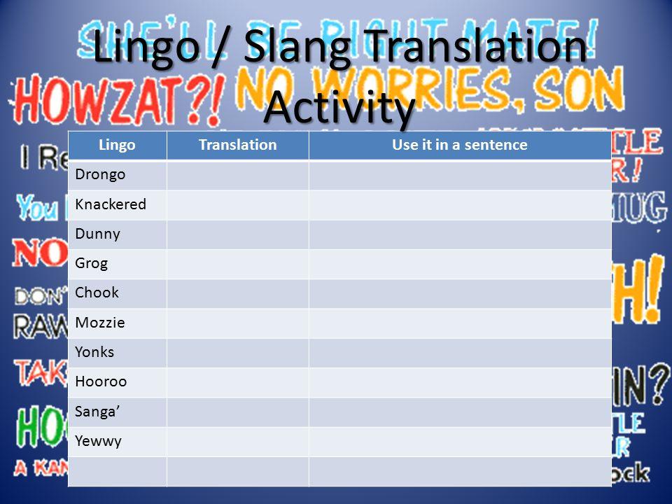 LingoTranslationUse it in a sentence Drongo Knackered Dunny Grog Chook Mozzie Yonks Hooroo Sanga' Yewwy Lingo / Slang Translation Activity