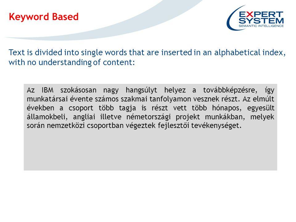 IPOTESI INGOMBRO EVENTUALE SCREENSHOT Keyword Based Text is divided into single words that are inserted in an alphabetical index, with no understanding of content: Az IBM szokásosan nagy hangsúlyt helyez a továbbképzésre, így munkatársai évente számos szakmai tanfolyamon vesznek részt.