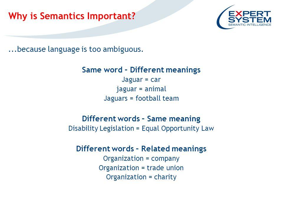 IPOTESI INGOMBRO EVENTUALE SCREENSHOT Why is Semantics Important ...because language is too ambiguous.
