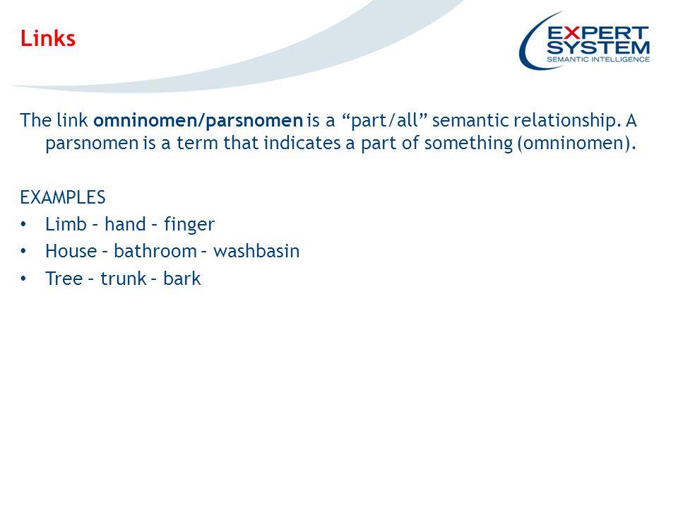 IPOTESI INGOMBRO EVENTUALE SCREENSHOT Links The link omninomen/parsnomen is a part/all semantic relationship.